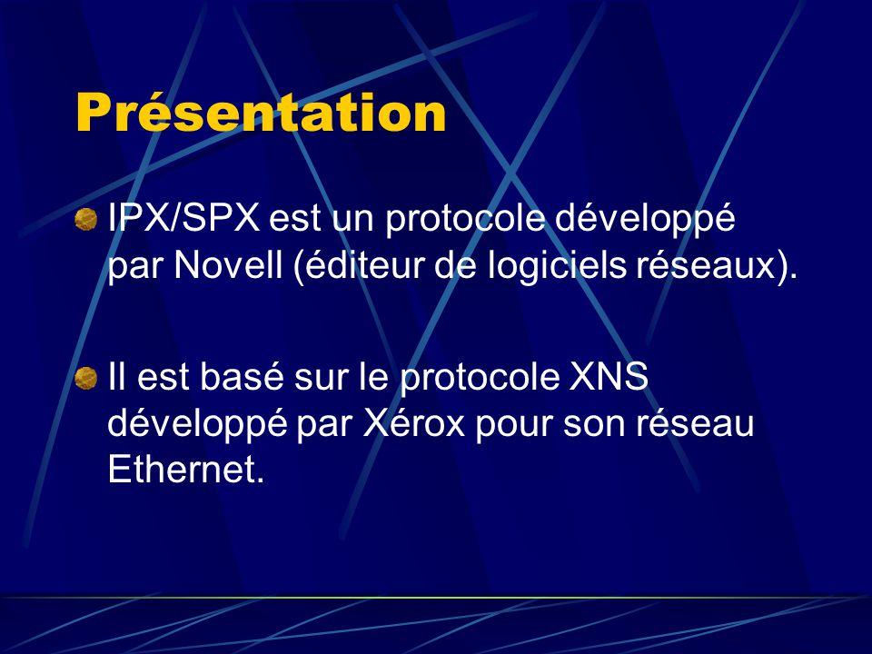 Présentation IPX/SPX est un protocole développé par Novell (éditeur de logiciels réseaux).