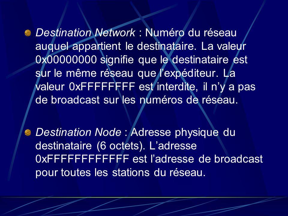 Destination Network : Numéro du réseau auquel appartient le destinataire. La valeur 0x00000000 signifie que le destinataire est sur le même réseau que l'expéditeur. La valeur 0xFFFFFFFF est interdite, il n'y a pas de broadcast sur les numéros de réseau.