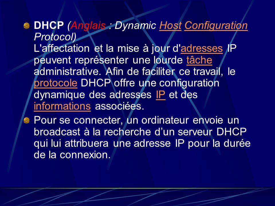 DHCP (Anglais : Dynamic Host Configuration Protocol) L affectation et la mise à jour d adresses IP peuvent représenter une lourde tâche administrative. Afin de faciliter ce travail, le protocole DHCP offre une configuration dynamique des adresses IP et des informations associées.