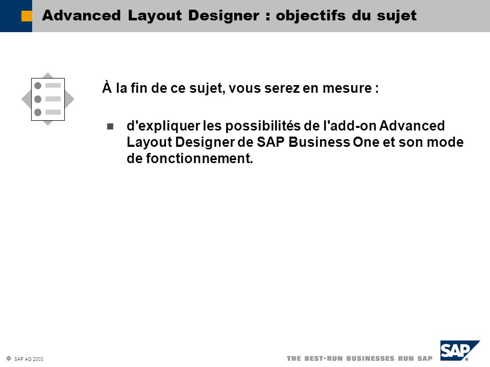 Advanced Layout Designer : objectifs du sujet