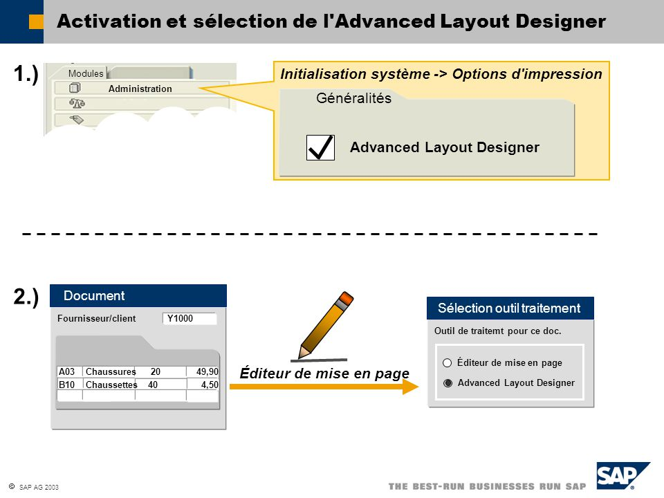 Activation et sélection de l Advanced Layout Designer