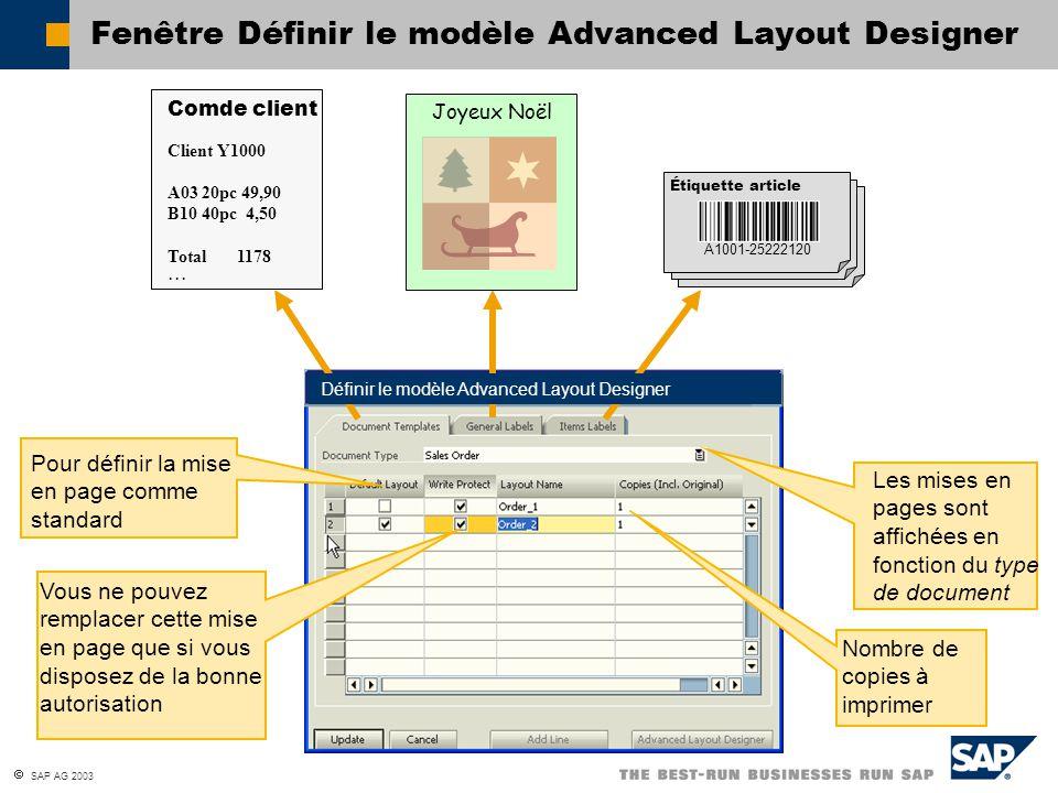 Fenêtre Définir le modèle Advanced Layout Designer