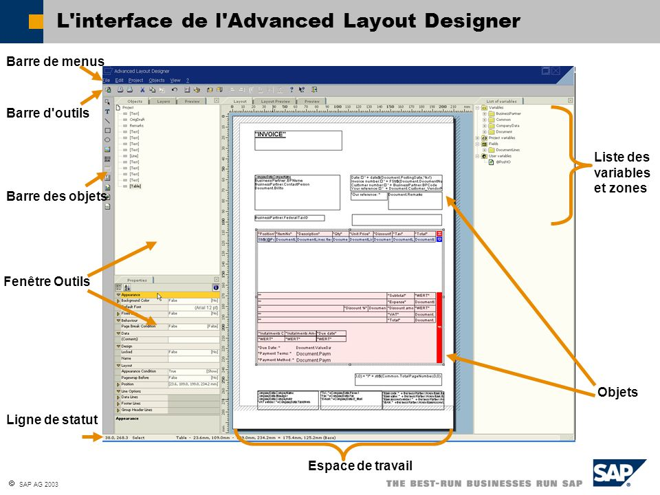 L interface de l Advanced Layout Designer