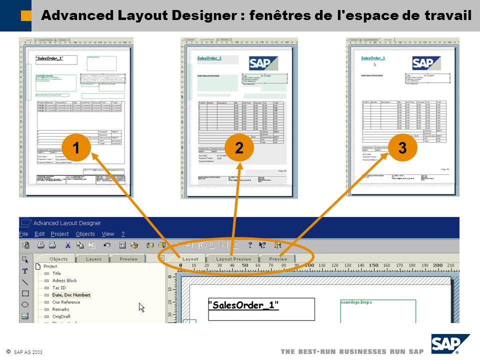 Advanced Layout Designer : fenêtres de l espace de travail