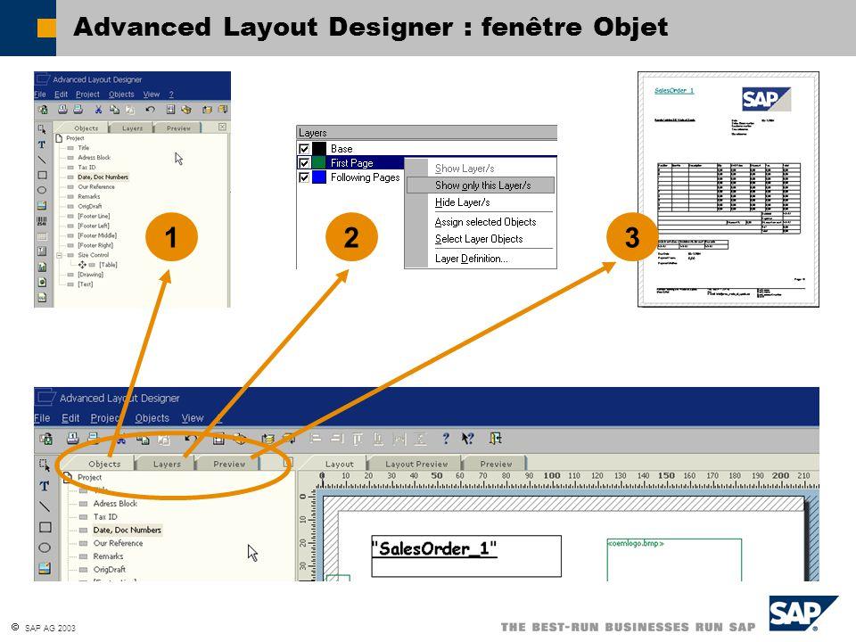 Advanced Layout Designer : fenêtre Objet