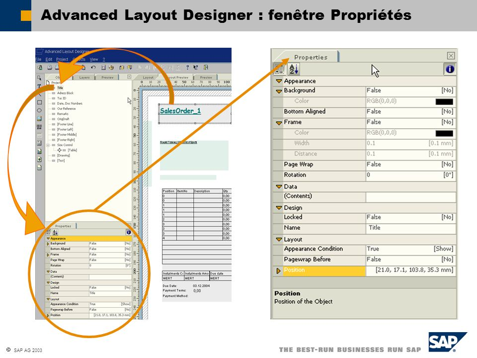Advanced Layout Designer : fenêtre Propriétés