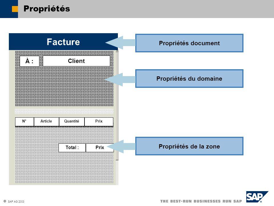 Facture Propriétés Propriétés document À : Client