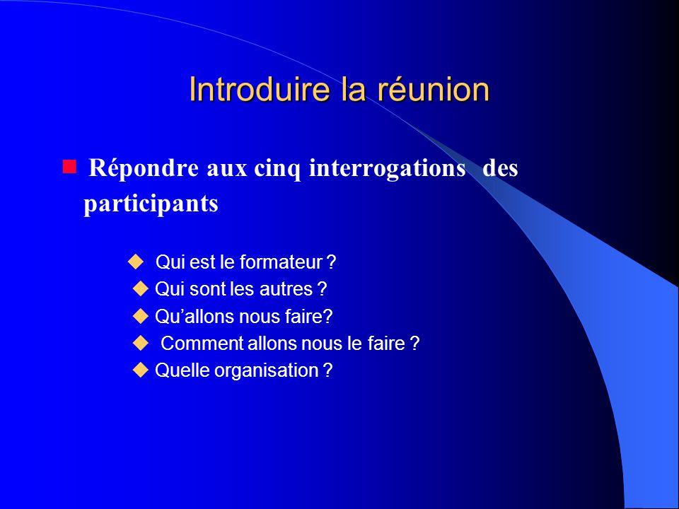 Introduire la réunion  Répondre aux cinq interrogations des participants.  Qui est le formateur