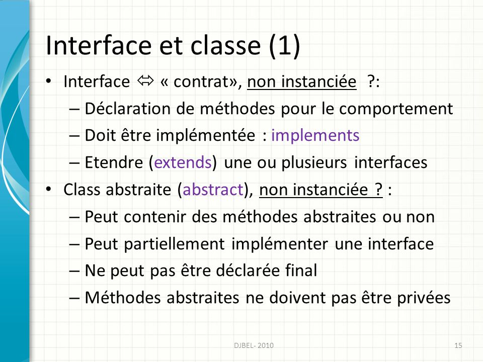 Interface et classe (1) Interface  « contrat», non instanciée :