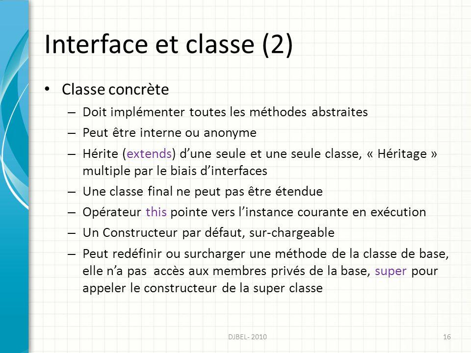 Interface et classe (2) Classe concrète