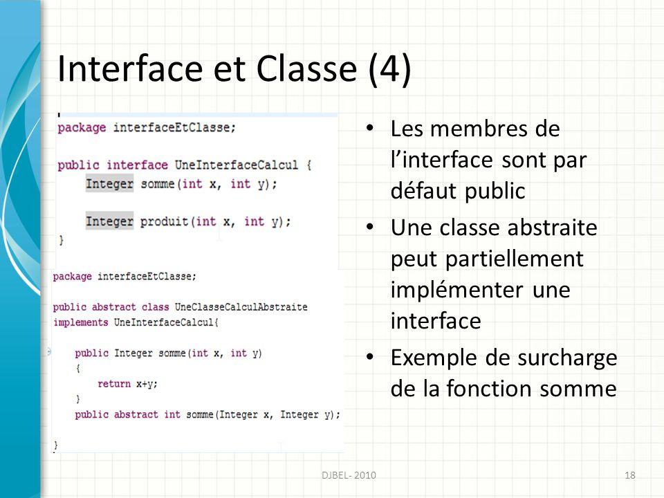 Interface et Classe (4) Les membres de l'interface sont par défaut public. Une classe abstraite peut partiellement implémenter une interface.