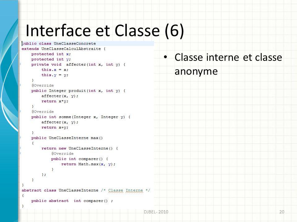 Interface et Classe (6) Classe interne et classe anonyme DJBEL- 2010