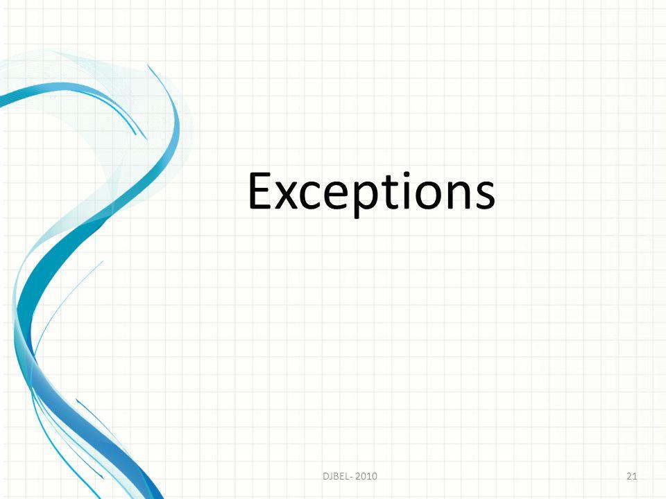 Exceptions DJBEL- 2010