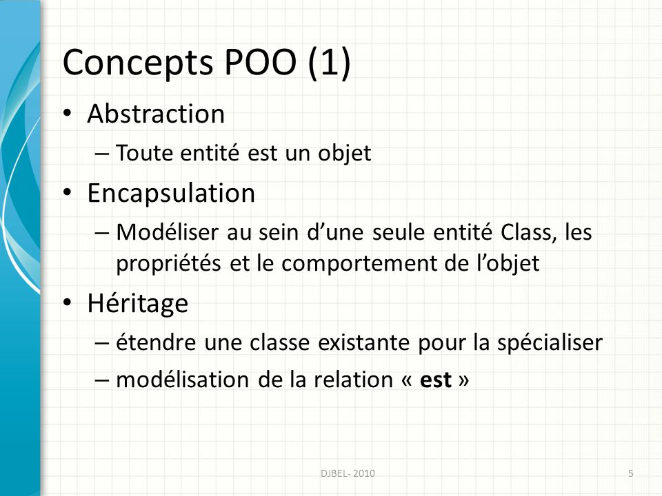 Concepts POO (1) Abstraction Encapsulation Héritage