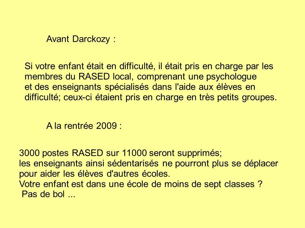Avant Darckozy : Si votre enfant était en difficulté, il était pris en charge par les membres du RASED local, comprenant une psychologue.