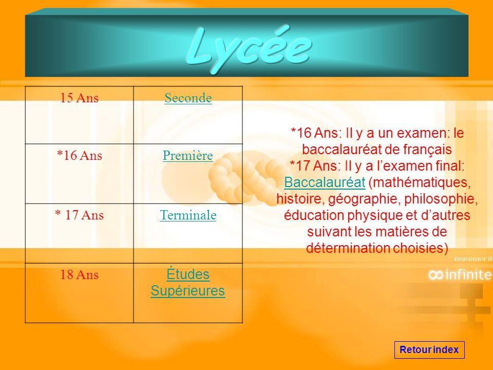 *16 Ans: Il y a un examen: le baccalauréat de français