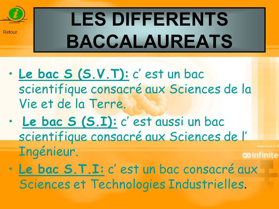 LES DIFFERENTS BACCALAUREATS