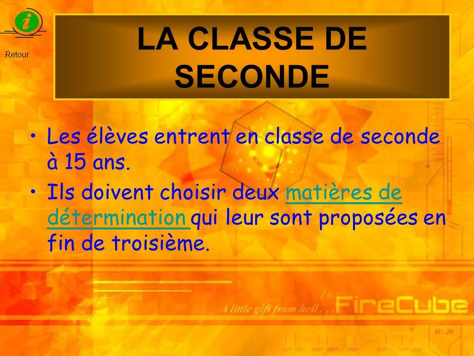 LA CLASSE DE SECONDE Les élèves entrent en classe de seconde à 15 ans.
