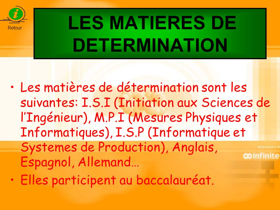 LES MATIERES DE DETERMINATION
