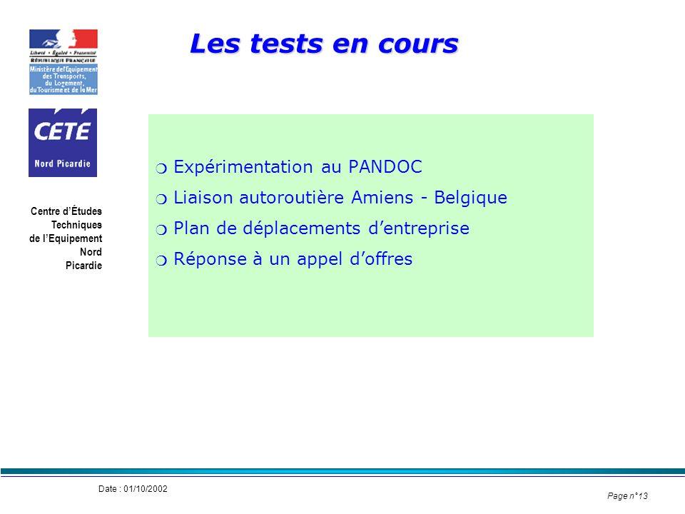 Les tests en cours Expérimentation au PANDOC