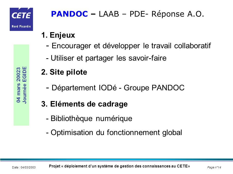 PANDOC – LAAB – PDE- Réponse A.O.