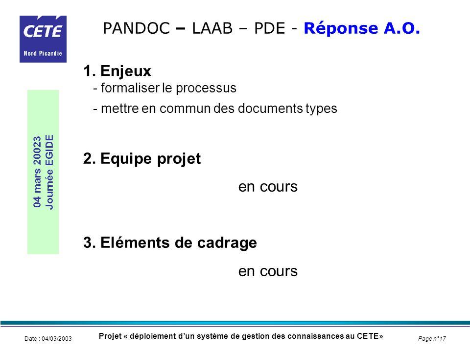 PANDOC – LAAB – PDE - Réponse A.O.