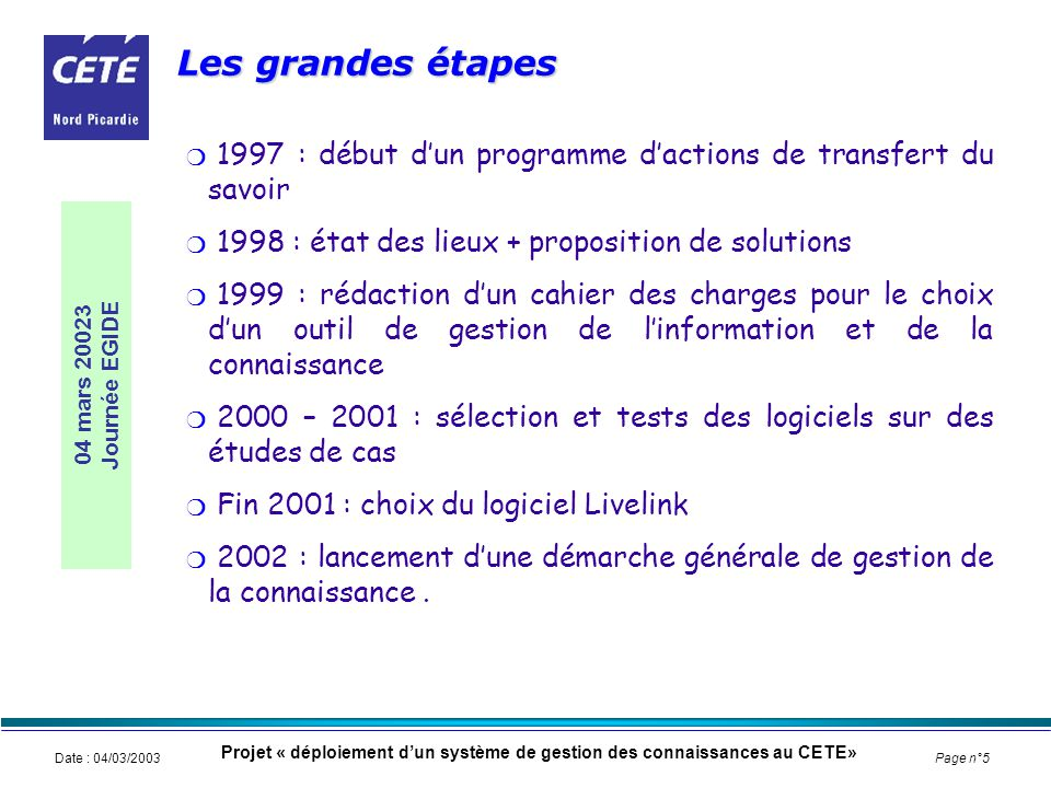 * Cete Nord Picardie, 9 septembre 2002. Les grandes étapes. 1997 : début d'un programme d'actions de transfert du savoir.