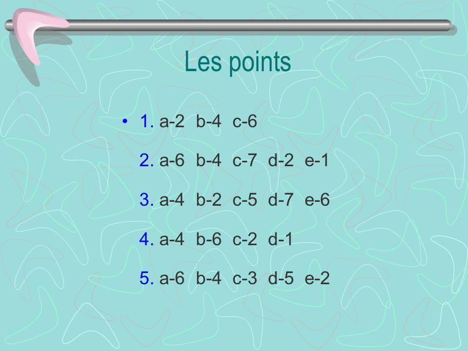 Les points 1. a-2 b-4 c-6 2. a-6 b-4 c-7 d-2 e-1 3.