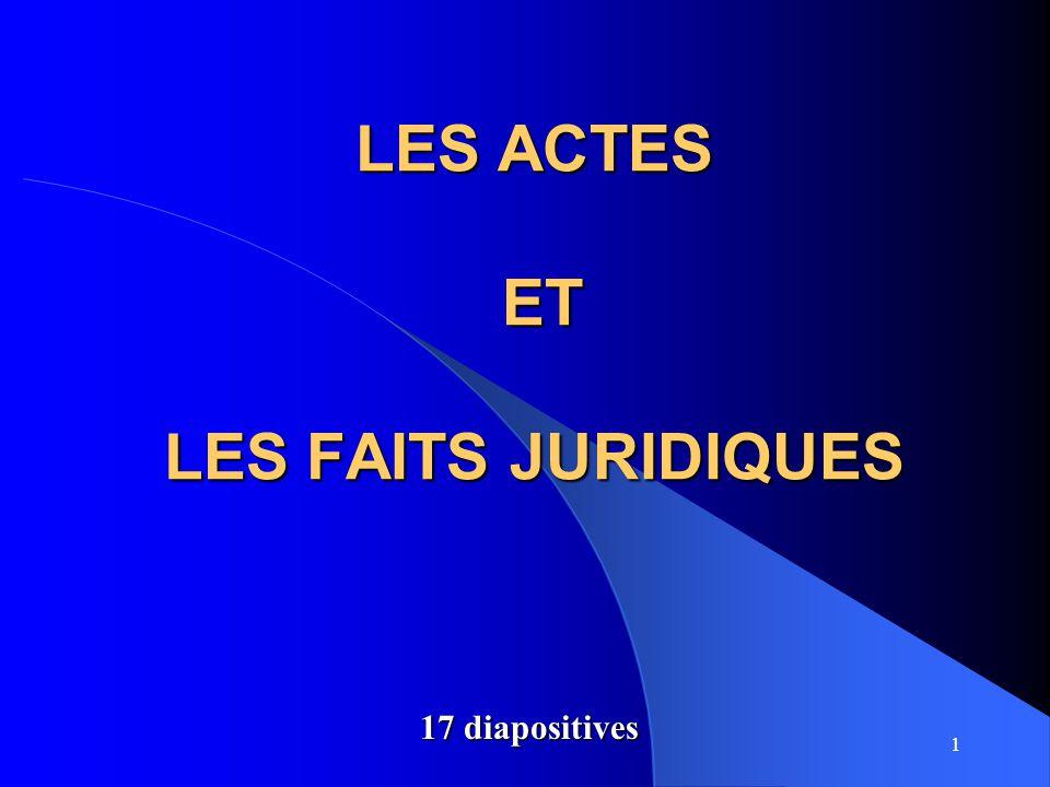 LES ACTES ET LES FAITS JURIDIQUES