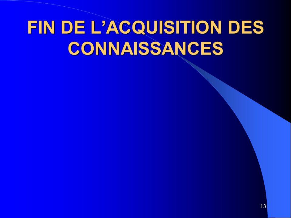 FIN DE L'ACQUISITION DES CONNAISSANCES