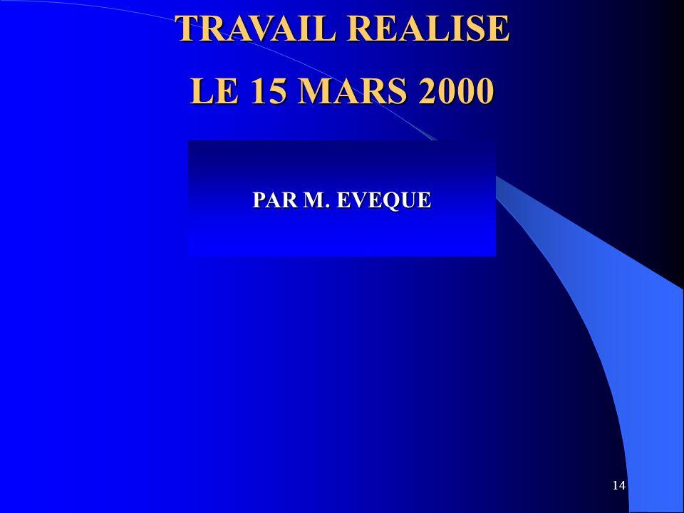 TRAVAIL REALISE LE 15 MARS 2000