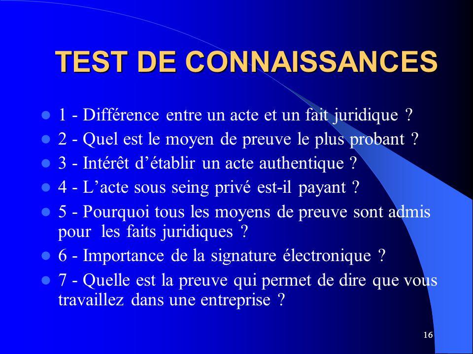 TEST DE CONNAISSANCES 1 - Différence entre un acte et un fait juridique 2 - Quel est le moyen de preuve le plus probant