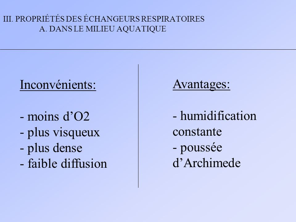 - humidification constante - poussée d'Archimede