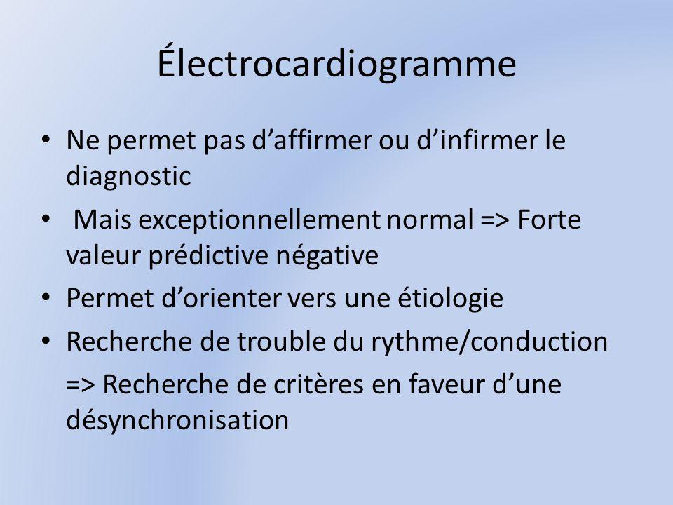 Électrocardiogramme Ne permet pas d'affirmer ou d'infirmer le diagnostic. Mais exceptionnellement normal => Forte valeur prédictive négative.