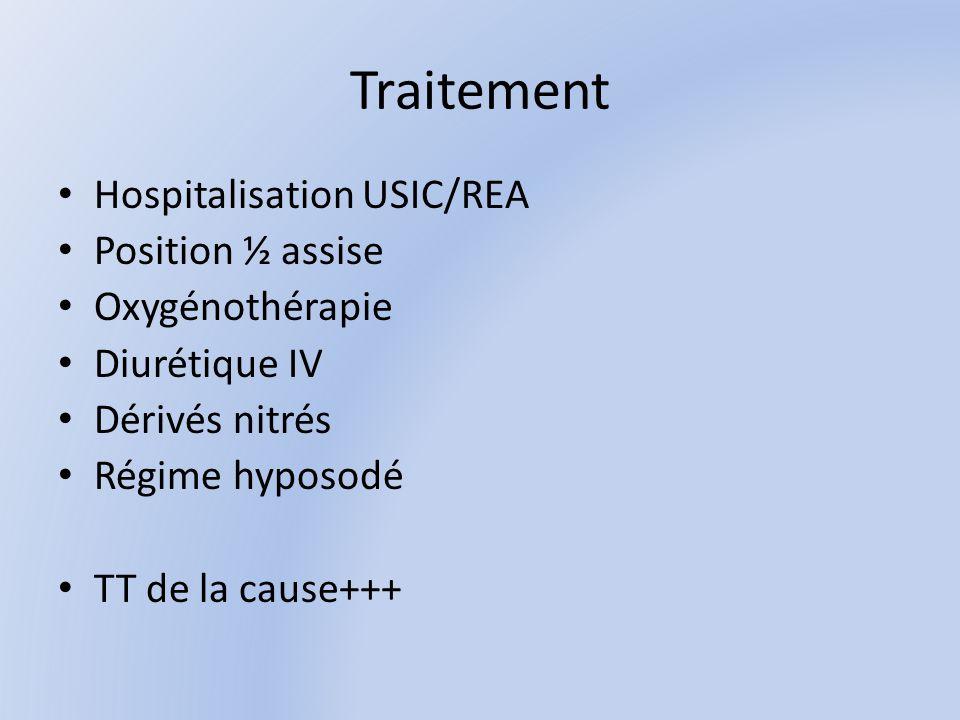 Traitement Hospitalisation USIC/REA Position ½ assise Oxygénothérapie