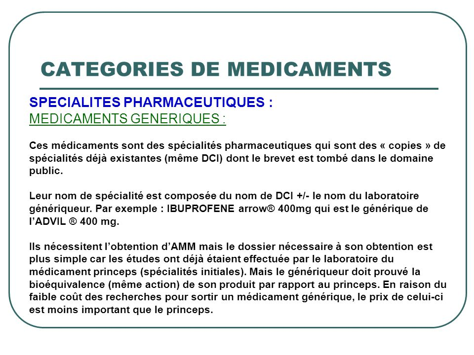 CATEGORIES DE MEDICAMENTS