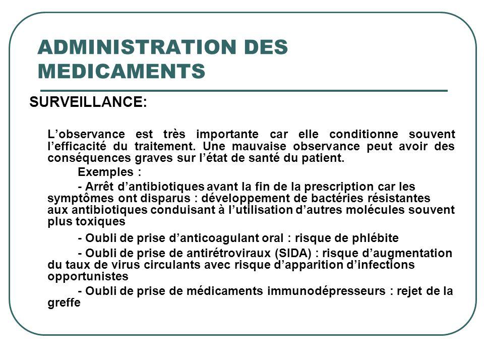 ADMINISTRATION DES MEDICAMENTS