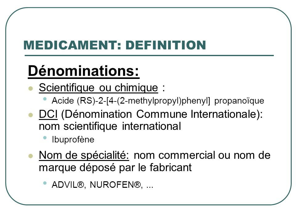 MEDICAMENT: DEFINITION