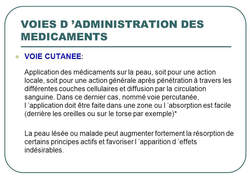 VOIES D 'ADMINISTRATION DES MEDICAMENTS
