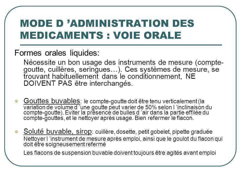 MODE D 'ADMINISTRATION DES MEDICAMENTS : VOIE ORALE