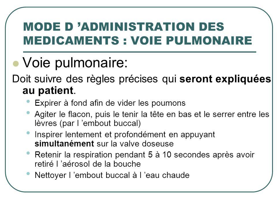 MODE D 'ADMINISTRATION DES MEDICAMENTS : VOIE PULMONAIRE