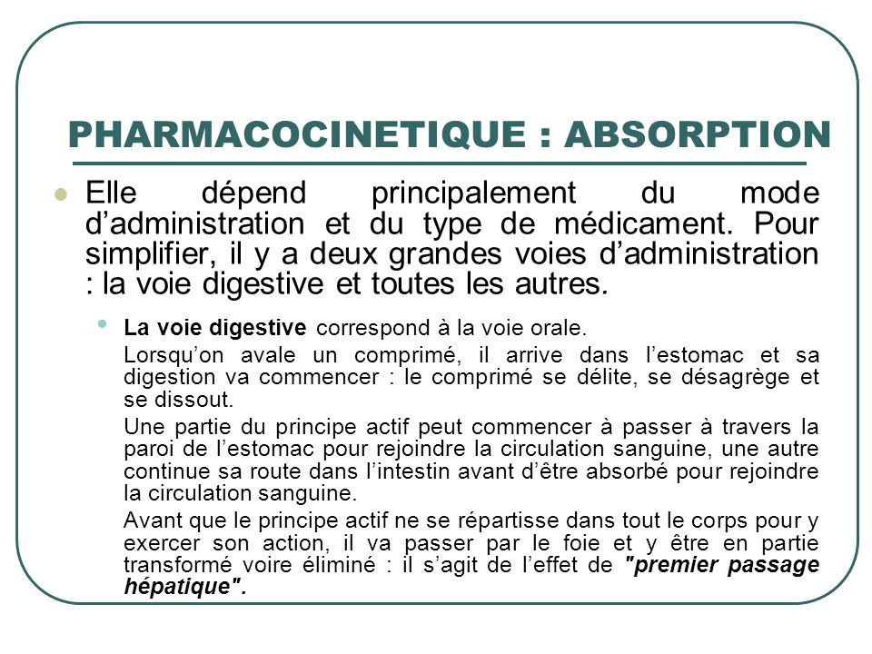 PHARMACOCINETIQUE : ABSORPTION