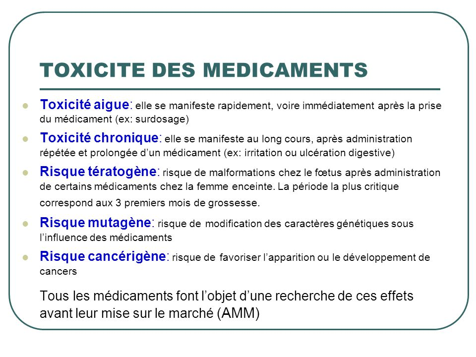 TOXICITE DES MEDICAMENTS