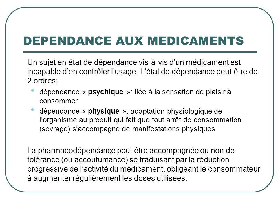 DEPENDANCE AUX MEDICAMENTS