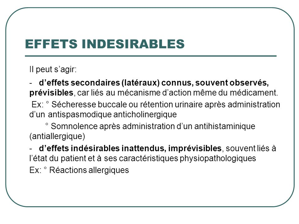 Il peut s'agir: EFFETS INDESIRABLES