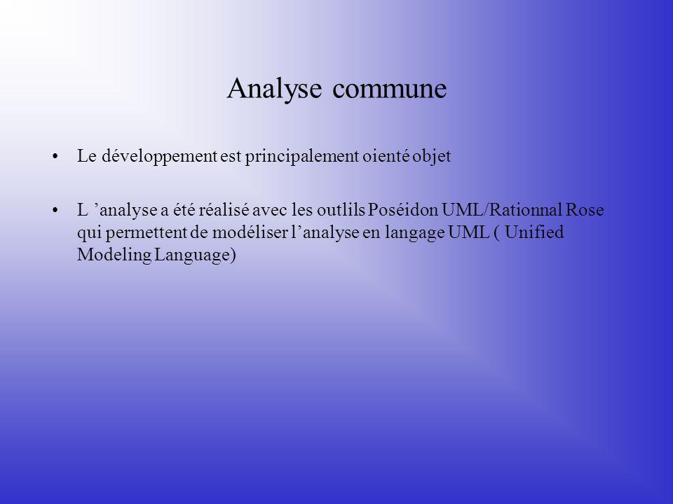 Analyse commune Le développement est principalement oienté objet