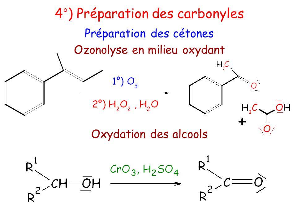 + 4°) Préparation des carbonyles Préparation des cétones