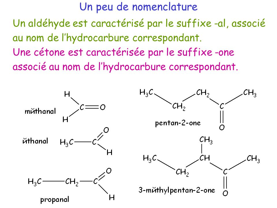 Un peu de nomenclature Un aldéhyde est caractérisé par le suffixe -al, associé au nom de l'hydrocarbure correspondant.