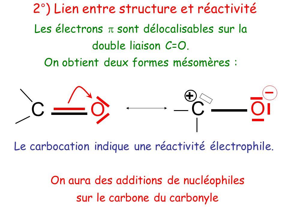 C O C O – + 2°) Lien entre structure et réactivité