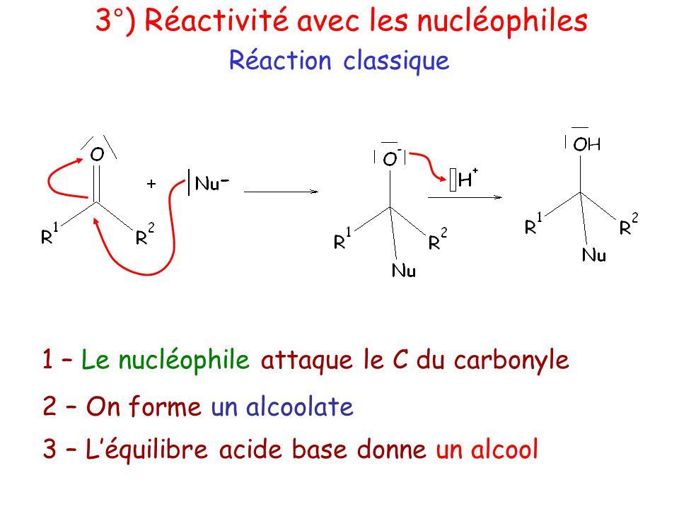 3°) Réactivité avec les nucléophiles